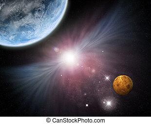 univers, -, starfield, planètes, et, nébuleuse