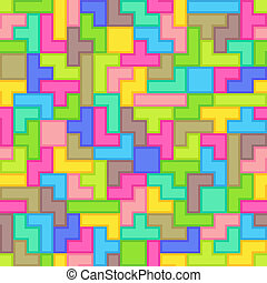 Universal Abstract Colorful Seamless Pattern of Simple Geometric Elements Stylized as Tetris Game. Continuous Background Mosaic of Simple Geometric Figures.