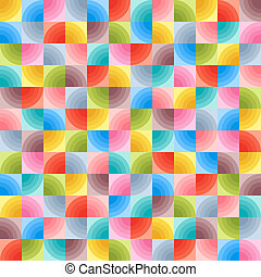 Universal Abstract Motley Seamless Pattern of Geometric Elements Quarters of Circles.