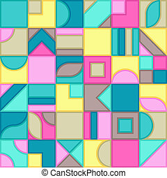Universal Abstract Seamless Pattern of Brown, Cyan, Mint, Pink, Yellow Geometric Elements of Pastel Colors.