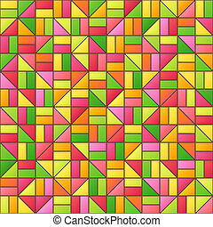 Universal Abstract Seamless Pattern of Simple Geometric Elements of Crimson, Green, Orange, Red, Pink, Yellow Colors.