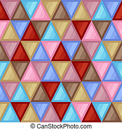 Universal Abstract Seamless Pattern of Triangular Geometric Elements of Beige, Blue, Brown, Red, Pink Colors.