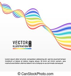 Universal Abstract White Background with Rainbow Striped Wave Line.