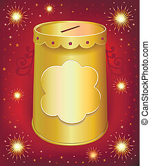 Universal blank holiday moneybox tin can template isolated...