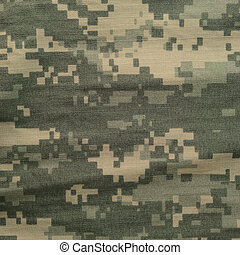 Universal camouflage pattern, army combat uniform digital camo, USA military ACU macro closeup, detailed large rip-stop fabric texture background, crumpled, wrinkled, foliage green, yellow desert sand tan, urban gray grey NYCO, nylon, cotton, textured swatch