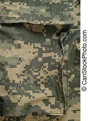 Universal camouflage pattern cargo storage pocket, army combat uniform digital camo, USA military ACU macro closeup, detailed large rip-stop fabric texture background, crumpled, wrinkled, foliage green, yellow desert sand tan, urban gray grey NYCO, nylon, cotton, vertical textured swatch