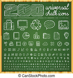 Universal Chalk Doodle Icons - 200 Universal Icons in chalk...