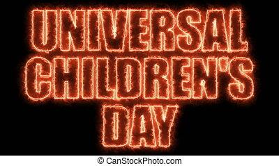 Universal children day text, 3d rendering backdrop, computer...
