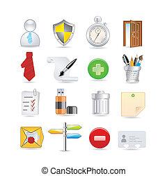 universal, conjunto, iconos