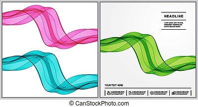 Universal Covers Design with Set Green, Blue, Pink of Wave Lines for Book, Booklet, Brochure, Textbook.