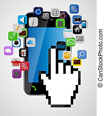 Universal design mobile phone with mouse hand cursor and app...