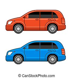Universal Different Color Car Set. Vector