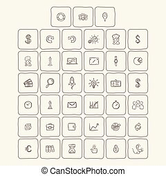 Universal Doodle Icons For Mobile and Web. Vector...