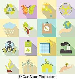 Universal ecology flat icons set