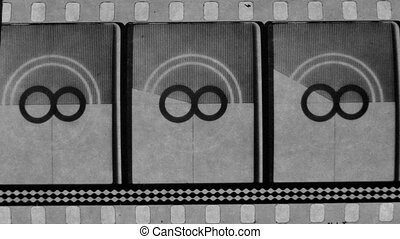universal film/academy leader countdown, made using 35mm celluloid film strip.