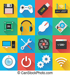 Universal Flat Icons Set 03 - Colorful modern vector flat...