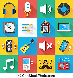 Universal Flat Icons Set 04 - Colorful modern vector flat...