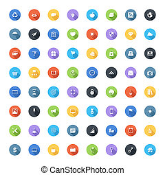 Universal flat icons - Vector set of modern trendy flat and...