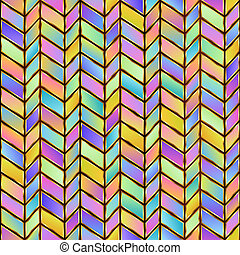 Universal Geometric Abstract Pastel Seamless Pattern of Gradient Blue, Lilac, Pink, Violet, Yellow Parallelograms with Stylized Gold Outline.