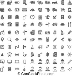 Universal Icon Set. 100 icons - 100 Universal Icons. Simplus...