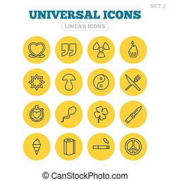 Universal icons. Quotes, ribbon heart and cake.
