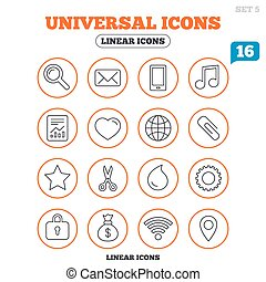 Universal icons. Smartphone, mail and music.