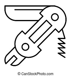 Universal knife thin line icon. Pocket knife vector illustration isolated on white. Multifunction knife outline style design, designed for web and app. Eps 10.