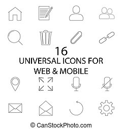 Universal line and full icons set, outline and solid vector...