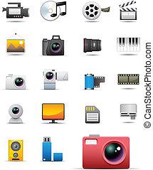 universal, medios, iconos