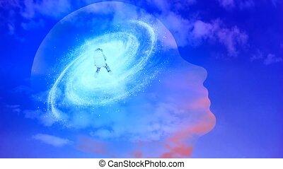 Astronaut and galaxy inside transparent human head - ...