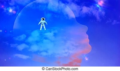 Universal mind. Astronaut inside transparent human head