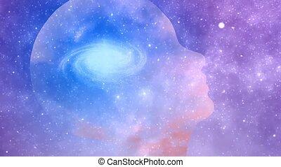 Universal mind. Galaxy inside transparent human head