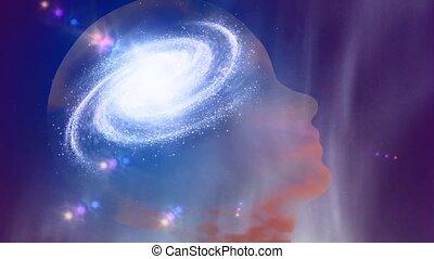 Universal mind. Galaxy inside transparent human head. High quality FullHD footage