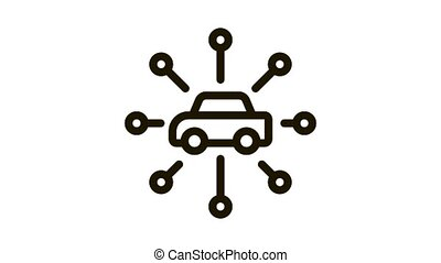 universal network of cars Icon Animation. black universal network of cars animated icon on white background
