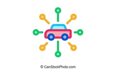 universal network of cars Icon Animation. color universal network of cars animated icon on white background