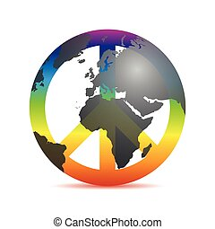 universal peace colorful symbol with earth in rainbow colors