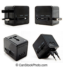 Black universal power plug adapter for traveler.
