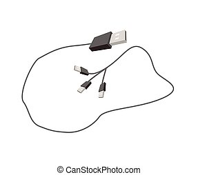 Universal Serial Bus Cable on White Background - Computer...