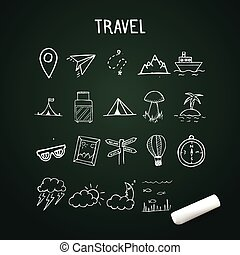 Universal Set of Vector Doodle Icons, travel doodle objects on chalkboard