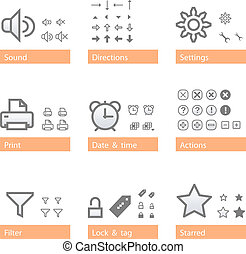 Universal software icon set. Icon sizes are adapted to three dimensions