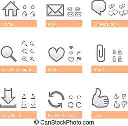 Universal software icon set. Web part - Universal web icon...