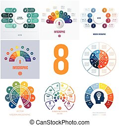 universal templates elements Infographics conceptual cyclic processes for 8 positions