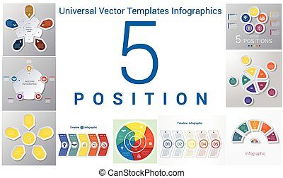 Universal Vector Templates Infographics for 5 positions. Business conceptual icons.