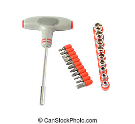 universal tool kit, demountable screw-drivers and wrenches