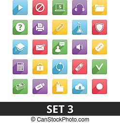 universal, vetorial, jogo, 3, ícones