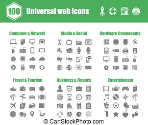 Universal web icons - 100 universal vector icons - Computer...