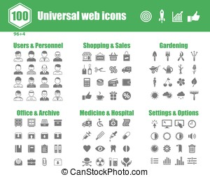 Universal web icons - 100 universal vector icons - Users and...