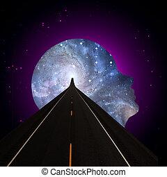 universale, mente, strada