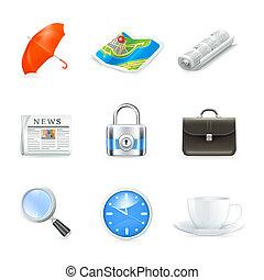 universale, vettore, icone