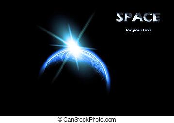 universe:, aarde, en, zon
